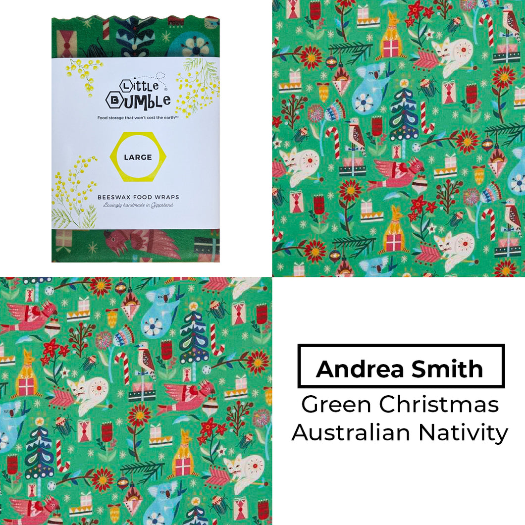 Andrea Smith - Australian Christmas Nativity Green - Large wrap 35x35cm