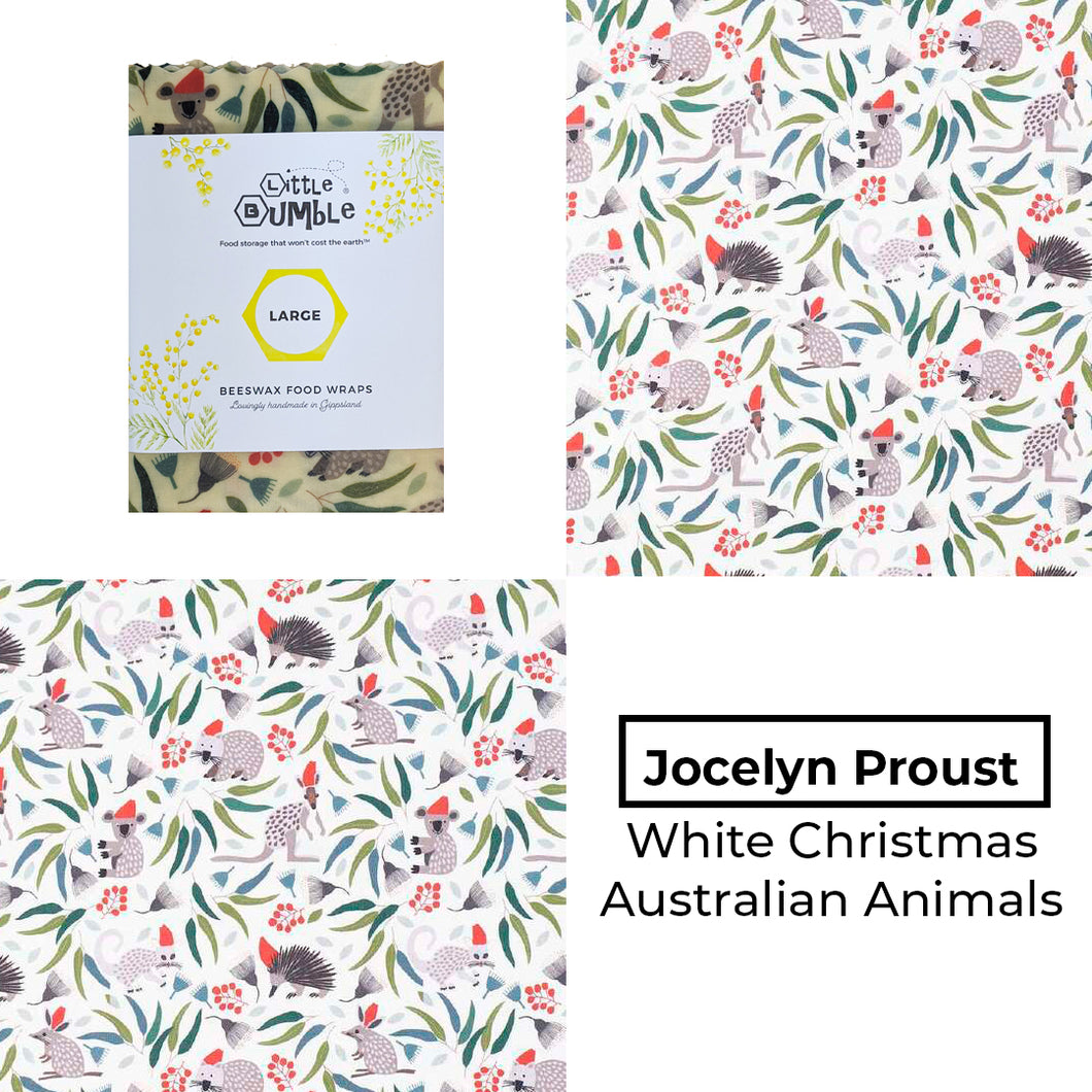 Jocelyn Proust - White Christmas Animals - Large wrap 35x35cm * BUY 1 GET 1 FREE!