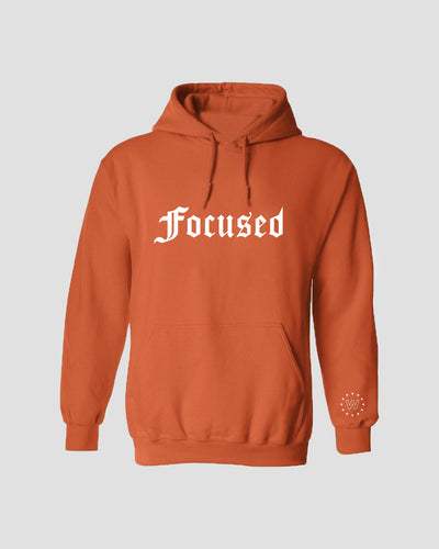 Focused Orange Hoodie - White Print