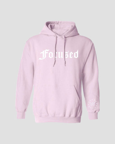 Focused Pink Hoodie - White Print
