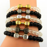 Live to Lift - Dumbbell Bracelet - 9figures, Strand Bracelets, YIMING JEWElRY STORE, 9figures