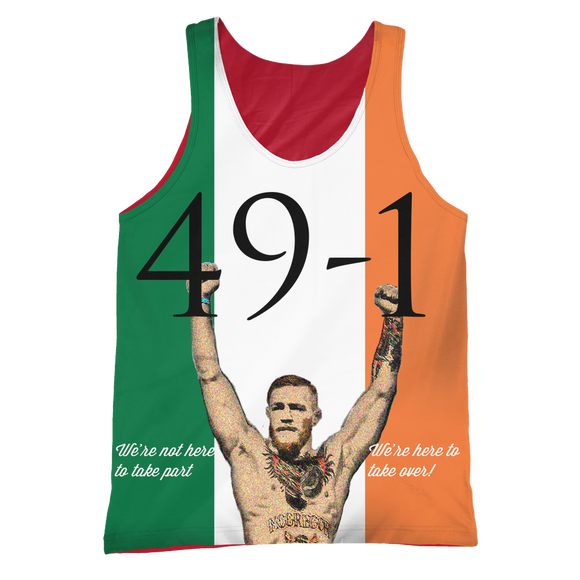 Conor Mcgregor 49-1 Tanktop: We're not here to take part, we're here to take over - 9figures, All Over Print 2, teelaunch, 9figures