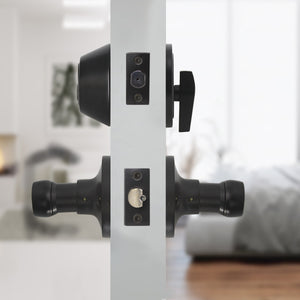 Wave Style Door Lever Lock with Single Cylinder Deadbolt Combo Packs Black Finish - Keyed Alike DL12061ET-101BK