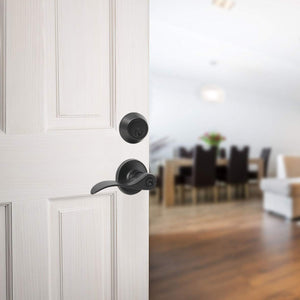 Wave Style Door Lever Lock with Double Cylinder Deadbolt Combo Packs Black Finish - Keyed Alike DL12061ET-102BK