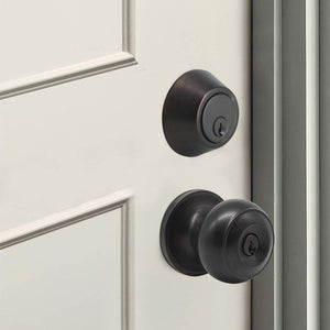 Keyed Alike Entry Door Lock Knob with Single Cylinder Deadbolt, Oil Rubbed Bronze Finish Combo Pack - DL609ET-101ORB