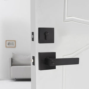 Keyed Entry Door Levers and Single Cylinder Deadbolts Combo Pack (Keyed Alike), Black Finish DL01ET-111BK