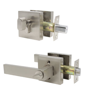 door handles lock satin nickel finish