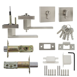 Keyed Entry Door Levers and Single Cylinder Deadbolts Combo Pack (Keyed Alike), Satin Nickel Finish DL01ET-111SN