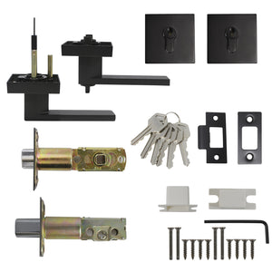 Keyed Entry Door Levers and Double Cylinder Deadbolts Locks Combo Pack (Keyed Alike), Black Finish DL01ET-112BK