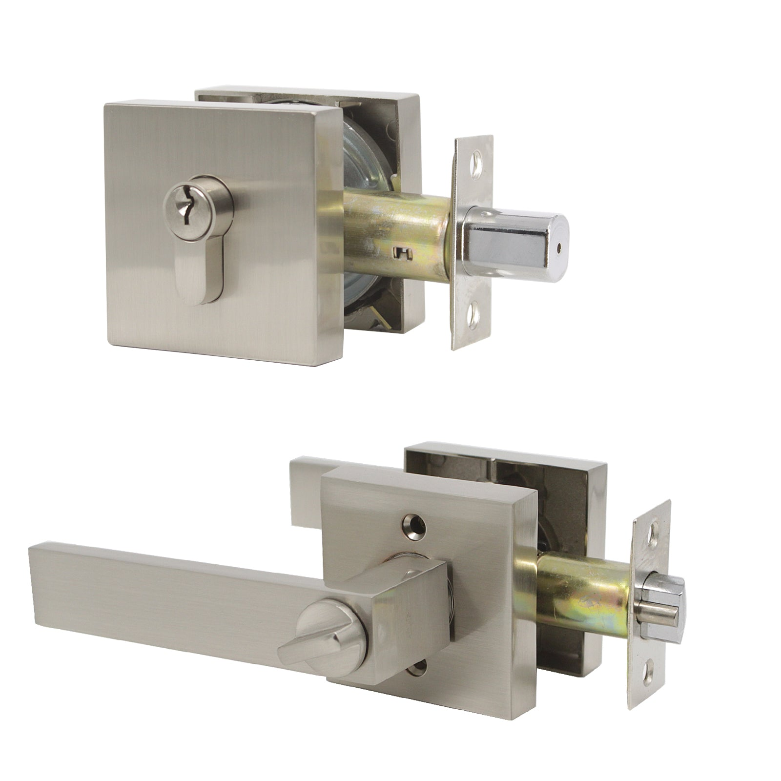 Keyed Alike Door Lever /& Deadbolt Set for Front//Office Door Reversible for Right and Left Handed Satin Nickel 6 Pack Entry Lever Lockset and Double Cylinder Deadbolt Combination Set with Same Keys