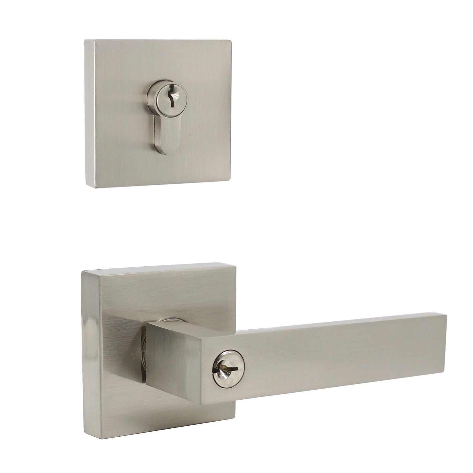 satin nickel door handle set