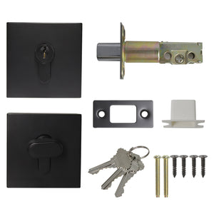 Square Design Door Deadbolt with Single Cylinder Lock Black Finish DLD105BK