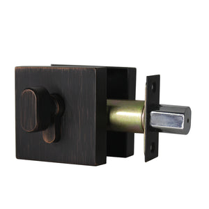 Square Design Door Deadbolt with Single Cylinder Lock Oil Rubbed Bronze Finish DLD105ORB