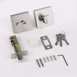 Square Design Single Cylinder Deadbolts, Keyed Door Lock Satin Nickel Finish DLD105SN