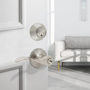 Keyed Entrance Door Lever set Lock with Double Cylinder Deadbolt Combo Packs, Satin Nickel DL12061ET-102SN