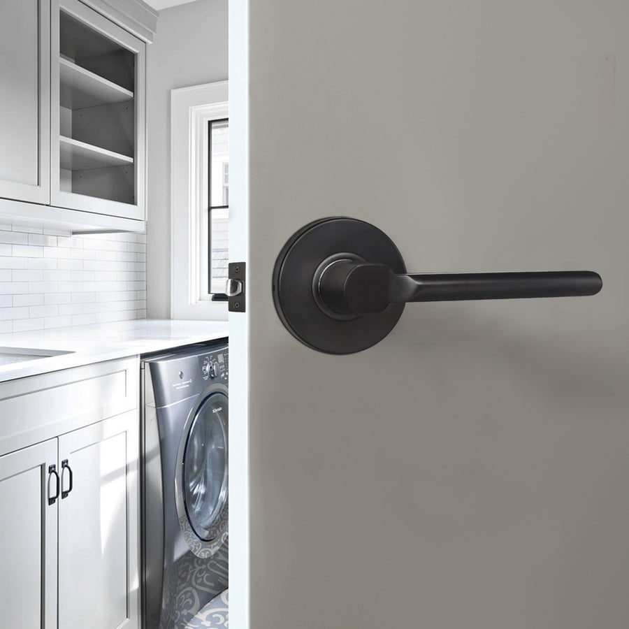 Heavy Duty Door Handles Black Finish, Straight Lever Style Door Lever, Entry Keyed Alike/Privacy Lock, Passage/Dummy HandleDL1637BK
