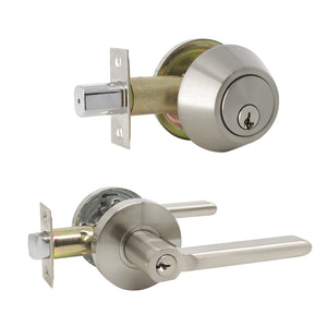 Keyed Entry Door Lever Lock and Single Cylinder Deadbolts Combo Pack (Keyed Alike), Satin Nickel Finish DL1637ET-101SN