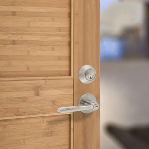 Keyed Entry Door Lever Lock and Double Cylinder Deadbolts Combo Pack (Keyed Alike), Satin Nickel Finish DL1637ET-102SN