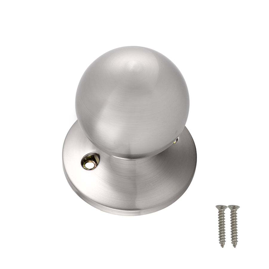 Round Ball Style Single Dummy Door Knobs Brushed Nickel Finish DL5763SNDM