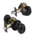 Oval Egg Ball Door Knob with Single Cylinder Deadbolt, Black Finish Door Lock set Keyed Alike