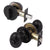 Keyed Alike Oval Egg Door Knobs with Single Cylinder Deadbolt Lock set Black Finish DL692ET01BK