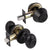 Oval Egg Ball Door Knob with Double Cylinder Deadbolt, Black Finish Door Lock set Keyed Alike