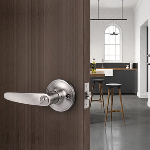 Leaf Style Door Lever, Satin Nickel Finish Bed/Bathroom Privacy Door Lock DL815SNBK