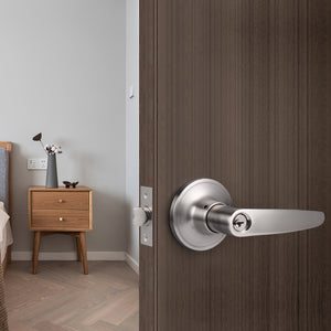Heavy Duty Door Handles Leaf Style Keyed Entry/Privacy/Passage/Dummy Door Lock Levers Satin Nickel FinishDL815SN