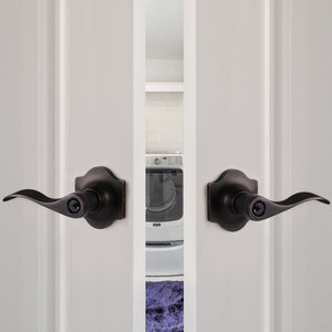 Oil Rubbed Bronze Door Handles Entry/Privacy/Passage/Dummy Lever Wave Style with Camelot Trim Rosette DL85061OB