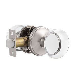 Round Glass Crystal Door Knobs with Satin Nickel Rosette, Privacy/Passage/Dummy Function DLC10BOSN