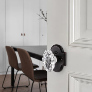 Oval Style Crystal Door Knob with Oil Rubbed Bronze Arched Rosette, Passage/Privacy Knob DLC21DORB