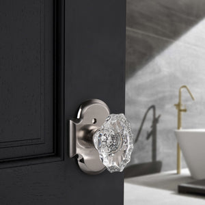 Oval Style Crystal Door Knob with Satin Nickel Arched Rosette, Passage/Privacy Knob DLC21DOSN