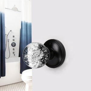 Crystal Glass Door Knobs in Round Ball Style, Passage/Privacy Knob, Black Finish DLC23BK