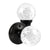 Crystal Glass Door Knobs in Round Ball Style, Passage/Privacy Knob, Black Finish DLC23BOBK
