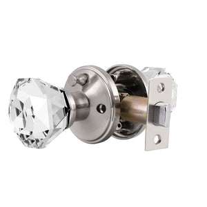 Tulip Style Door Knobs, Crystal Door Knob Lock with Satin Nickel Finish Rosette, Passage/Privacy Lock DLC2SN