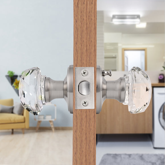 Clear Glass Door Knob Lock with Round Rosette, Passage/Privacy Function, Satin Nickel Finish DLC3SN