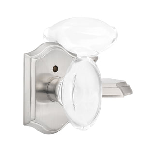 Oval Crystal Door Knob Lock with Satin Nickel Arched Rosette DLC9SN