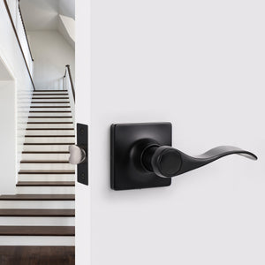 Wave Style Door Handles with Square Rosette, Entry Keyed/Privacy Lock/Passage/Dummy Lever Black Finish DLSQ061BK