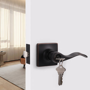 Wave Style Door Handles with Square Rosette, Entry Keyed/Privacy Lock/Passage/Dummy Lever Oil Rubbed Bronze Finish DLSQ061OB
