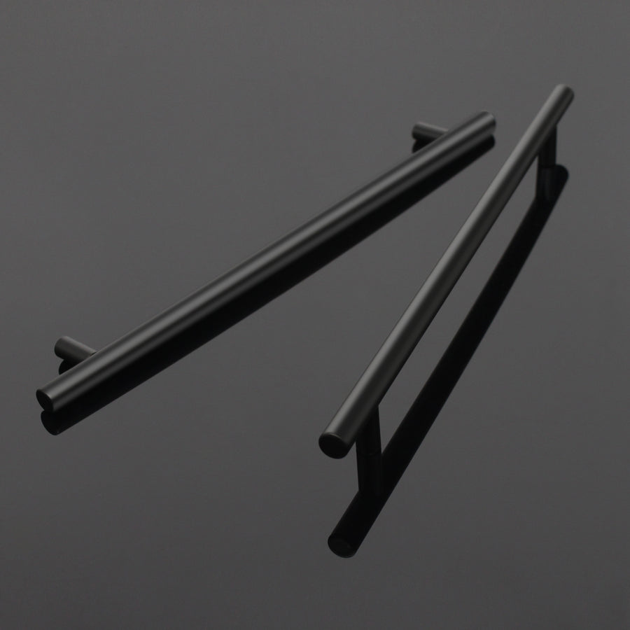 Black Cabinet Handles 10 inch 256mm Hole Centers, Euro T Bar Pulls - 5Pack PD3383HBK256