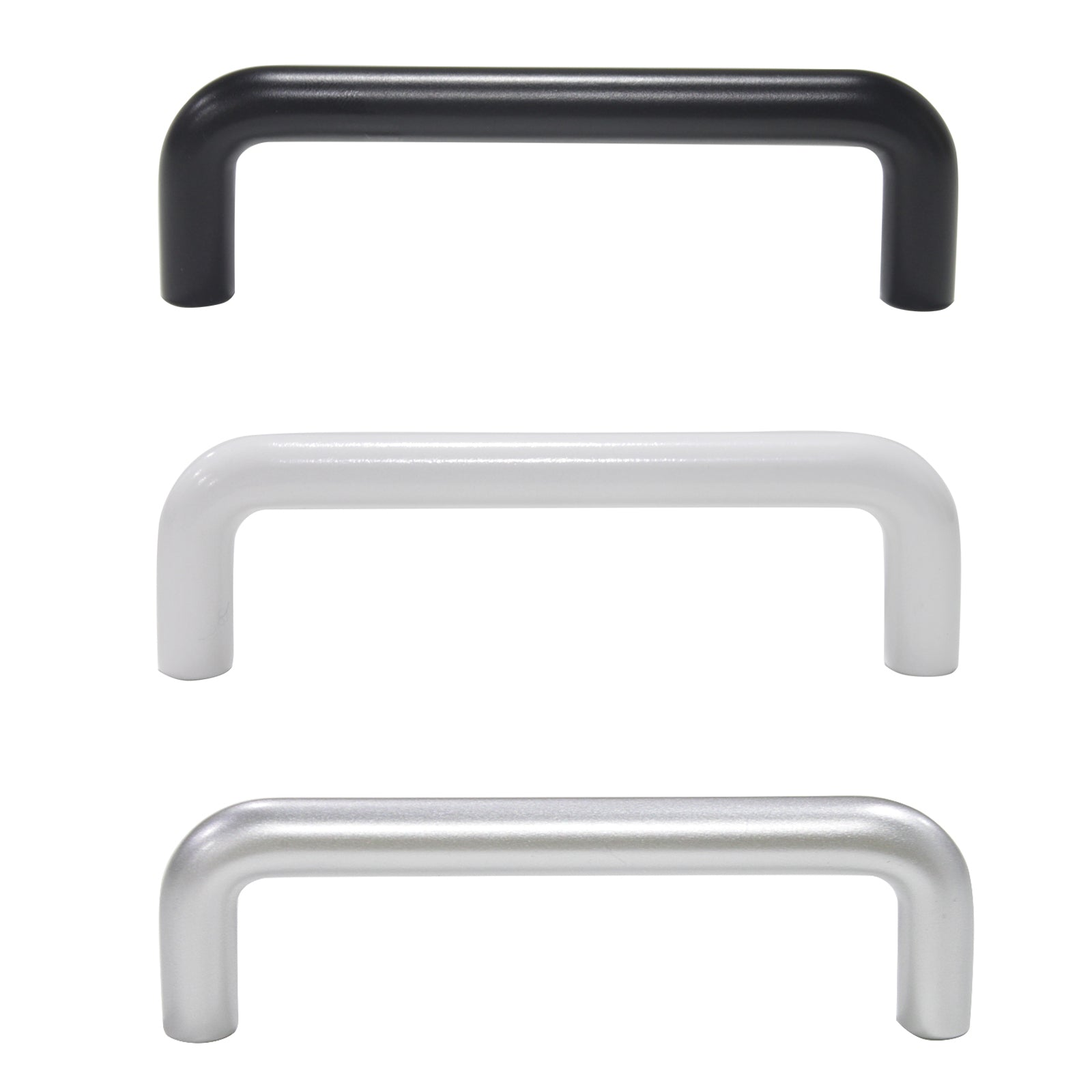 Silver/White/Black Plastic D Bar Handles Kitchen/Bathroom Cabinet Drawer Knobs Cupboard Pulls 96mm - Probrico