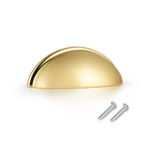 Cup Pull Knobs Gold Finish Shell Style Cabinet Handles 3 inch 76mm PD82981HGD