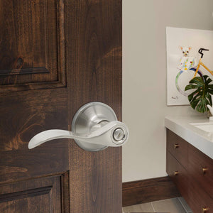4 Pack Privacy Door Lever set Brushed Nickel Finish with Wave Handle Style