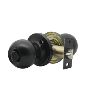 Round Ball Knobs, Privacy Door Lock Knob, Black Finish DL607BKBK