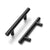 Black Cabinet Handles 3inch 76mm Hole Centers Modern Euro T Bar Pulls 5inch 127mm Length PD3383HBK76