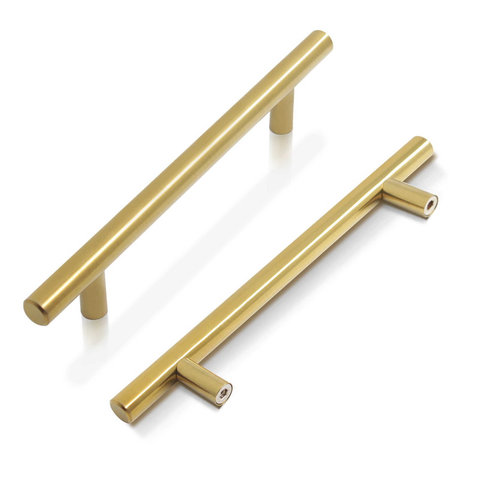 Stainless Steel T Bar Cabinet Handles Gold Finish, 128mm 5inch Hole Centers