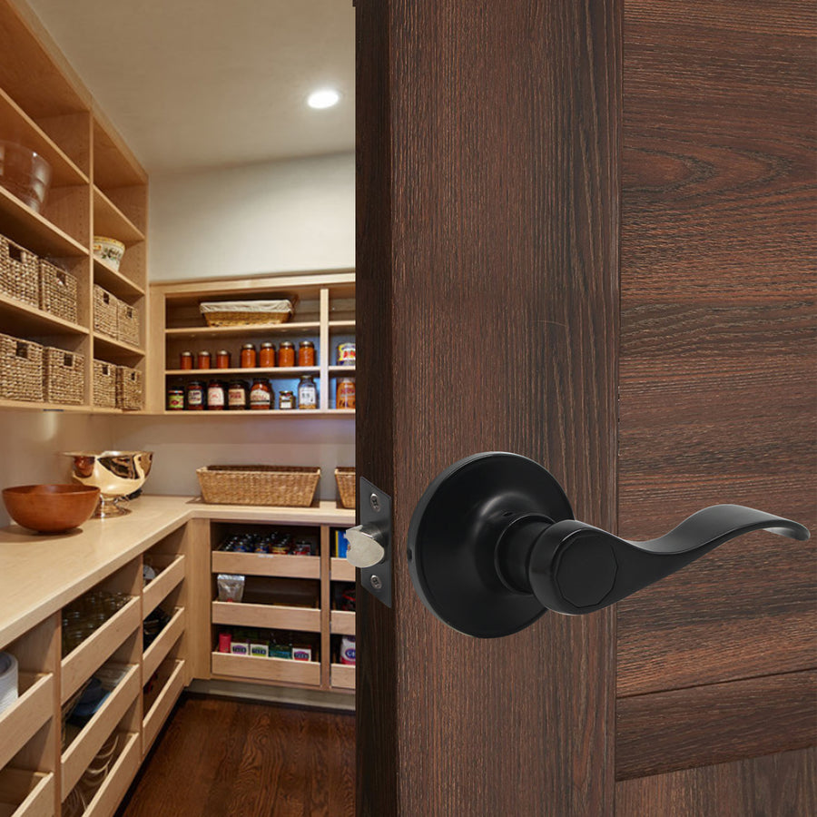 Closet, Hall and Passage Door Lever, Black Passage Door Handles DL12061BKPS