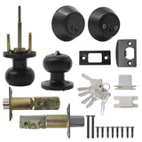 Keyed Alike Entry Door Lock Knob with Double Cylinder Deadbolt, Black Finish Combo Pack - DL609ET-102BK