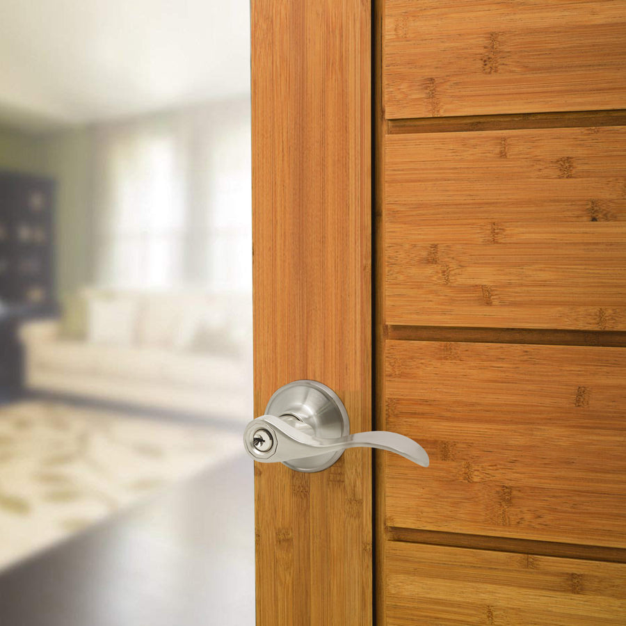 Keyed Alike Door Locks Lever, Satin Nickel Finish Keyed Entry Door Handle DL12061SNET
