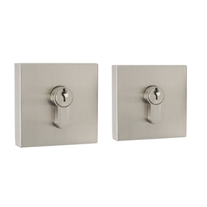 Square Double Cylinder Deadbolt Satin Nickel Keyed Entry Door Lock - Probrico